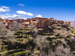 Stock Photo of Anammer adobe village Ourika valley behind the Atlas Mountains Anammer