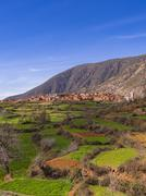 Stock Photo of Ourika Valley mudbrick village of Anammer at the back Atlas Mountains
