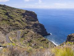 Steep canyons at the Camino del Prois road to pirate bay Tijarafe La Palma Stock Photos