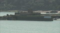 AERIAL Jersey-St Aubin Castle Stock Footage