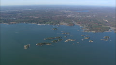 AERIAL United States-Thimble Islands From High Up Stock Footage
