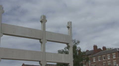 Concrete frame of building under construction. - stock footage