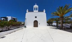 Village church of San Isidro Labrador Uga La Geria Lanzarote Canary Islands Stock Photos