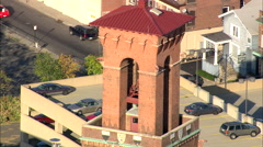 AERIAL United States-Waterbury Union Station Clock Tower Stock Footage