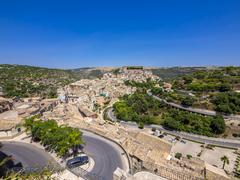 View of Ragusa Ibla UNESCO World Heritage Site Val di Noto Sicily Italy Europe - stock photo