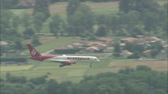 AERIAL France-Passenger Jet Landing At Tarbes Ossun Lourdes Airport Stock Footage