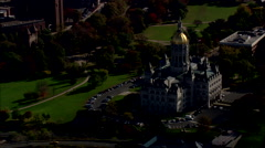AERIAL United States-Connecticut State Capitol Stock Footage