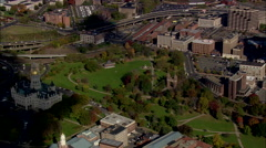 AERIAL United States-Civil War Memorial Gate In Bushnell Park Stock Footage
