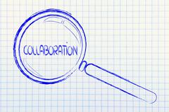 Focusing on teamwork and collaboration, magnifying glass design Stock Illustration