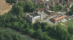 AERIAL France-Gassion Castle Stock Footage