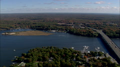 AERIAL United States-Road And Rail Bridges Across The Connecticut River Stock Footage