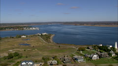 AERIAL United States-Connecticut River Estuary - stock footage