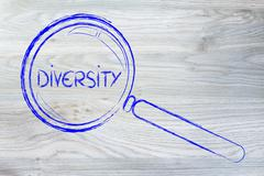focusing on diversity and collaboration, magnifying glass design - stock illustration
