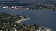 AERIAL United States-New London Harbour Light Stock Footage