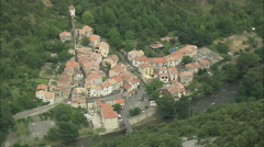 AERIAL France-Round Escarpment To Saint-Martin-Lys Stock Footage