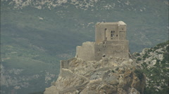 AERIAL France-Queribus Castle Stock Footage