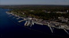 AERIAL United States-New London Naval Submarine Base Stock Footage