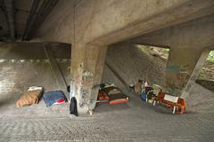 Homeless kip under a bridge Nuremberg Middle Franconia Bavaria Germany Europe Stock Photos
