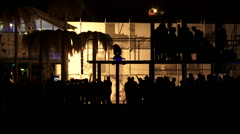 People Walking And Dancing At Open Air Disco Stock Footage
