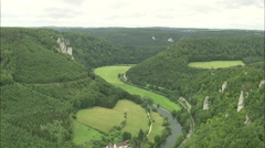 AERIAL Germany-Valley On Upper Reaches Of The Danube Stock Footage