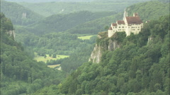 AERIAL Germany-Werenwag Castle Stock Footage