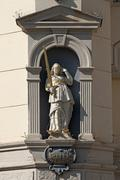 Stock Photo of Sculpture of Justitia on the baroque town hall Luneburg Lower Saxony Germany