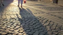 Long Shade on Cobblestone Stock Footage