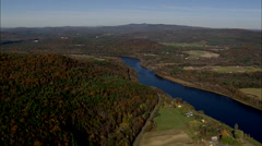 AERIAL United States-State Border Along Connecticut River Stock Footage