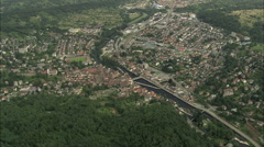 AERIAL Germany-Towns And Villages In Wooded Landscape Stock Footage