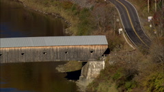 Stock Video Footage of AERIAL United States-Windsor Cornish Covered Bridge