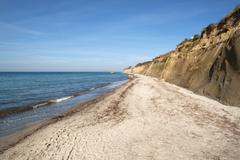 Baltic Sea beach and bluffs on the Baltic Sea beach Wustrow Darss Stock Photos