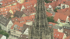 AERIAL Germany-Ulm Cathedral Stock Footage