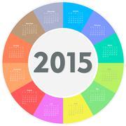 Circle calendar for 2015 year - stock illustration