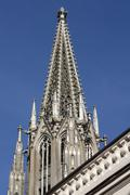 Stock Photo of Left spire of the Regensburg Cathedral completed in 1859 Regensburg Upper