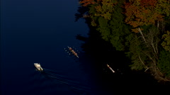 AERIAL United States-Rowing Eights On Connecticut River Stock Footage