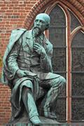 Monument of Emanuel Geibel German poet Lubeck SchleswigHolstein Germany Europe - stock photo