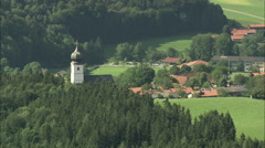 AERIAL Germany-Surberg Church Stock Footage