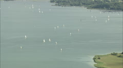 AERIAL Germany-Lake Chiemsee Stock Footage