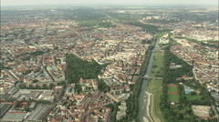AERIAL Germany-Flying Up The River Isor Stock Footage