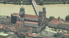 AERIAL Germany-Passau Stock Footage