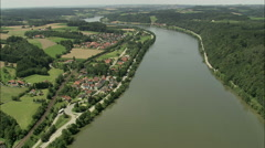 AERIAL Germany-Speed Boats And Water Skiing West Along River Stock Footage