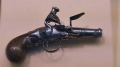 3883 Pocket Pistol 1700s Style made by John Brush, 4K Stock Footage