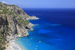Coast and beach of Kyra Panagia Karpathos Dodecanese South Aegean Greece Europe Stock Photos