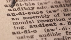 Audience - Fake dictionary definition of the word with pencil underline Stock Footage