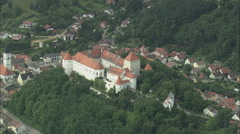AERIAL Germany-Pro Seniore Schloss Wᆬ_ニᆬ__Rth Stock Footage