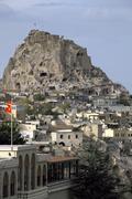 Castle Rock of Uchisar Nevsehir Province Cappadocia Central Anatolia Region - stock photo
