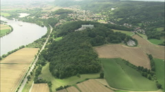 AERIAL Germany-Flight Circling Wallhalla Stock Footage