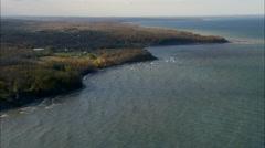 AERIAL United States-Shoreline Near Oswego 45 Stock Footage