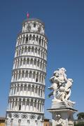 The Leaning Tower of Pisa and a sculpture Pisa Tuscany Italy Europe Stock Photos