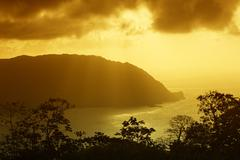 Sunset at Flagstaff Hill lookout Man OWar Bay Charlotteville Tobago Trinidad - stock photo